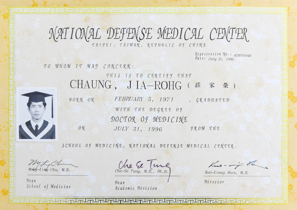 Chia-Jung Chuang. MD - Medicine, National Defense Medical Center (1989–1996)