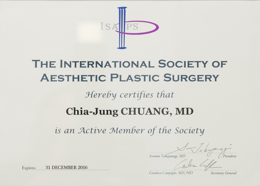 Chia-Jung Chuang. MD - Member of the International Society of Aesthetic and Plastic Surgery (ISAPS)